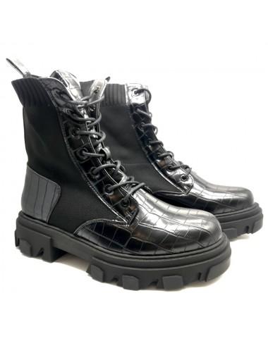 Bottine chaussette noir à...