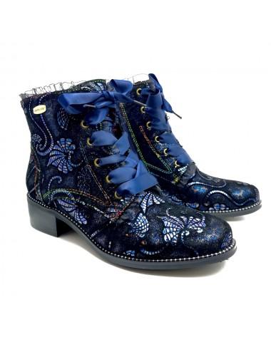 Bottine bleu à lacets Laura...