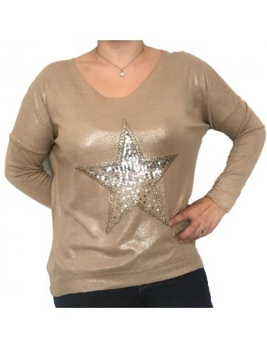 Top étoile strass à manches...