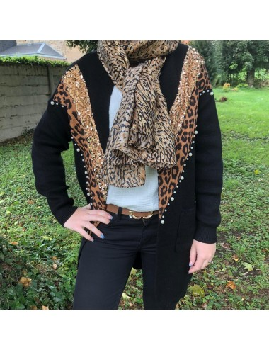 Gilet long léopard