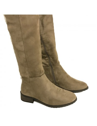 Cuissarde effet nubuck taupe