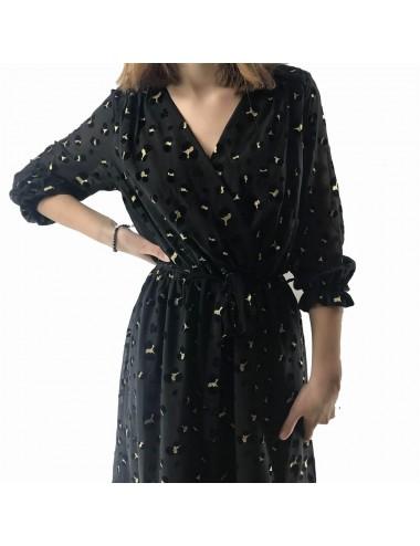 Robe longue noir léopard