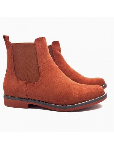 Bottine plate orange effet nubuck