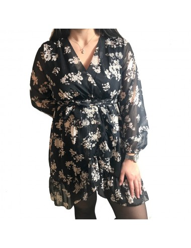 Robe noir à fleurs beige