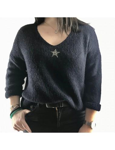 Pull épais avec étoile strass