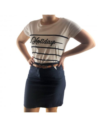 Tee-shirt blanc marinière