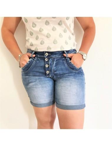Short en jeans à boutons