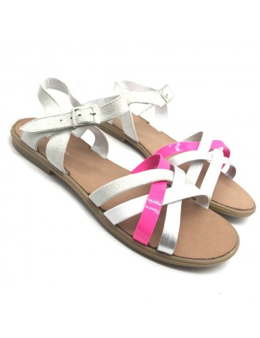 Nu-pied blanc et rose fluo...