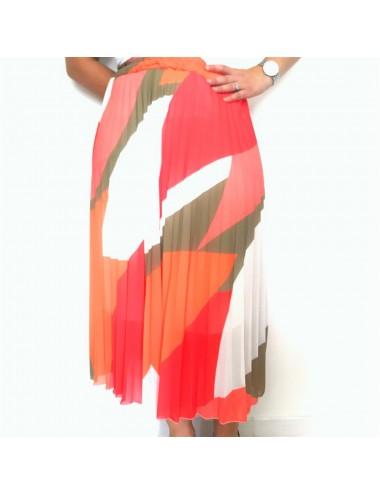 Jupe longue plissée et colorée